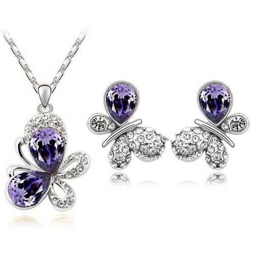 Austrian Crystal SW set Butterfly Dark Violet