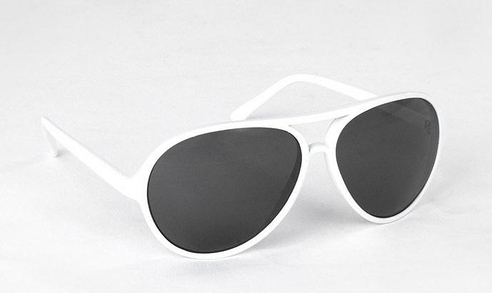 8754ec370 Slnečné okuliare AVIATOR - pilotky biely plastový rám čierne sklá